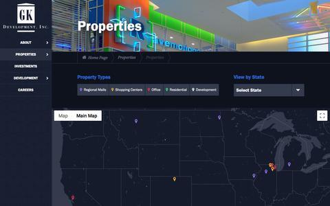 Screenshot of Maps & Directions Page gkdevelopment.com - Properties | GK Development, Inc. - captured Sept. 25, 2018