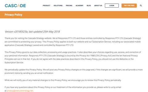 Screenshot of Privacy Page executestrategy.net - Cascade Privacy Policy - captured June 3, 2019