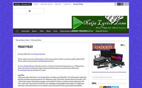 Screenshot of Privacy Page abujamedia.net - Privacy Policy - Abuja MediaAbuja Media - captured Nov. 1, 2014