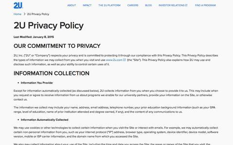 2U Privacy Policy | 2U