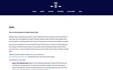 Screenshot of Signup Page royalcanoeclub.com - Join – Royal Canoe Club - captured Feb. 24, 2016