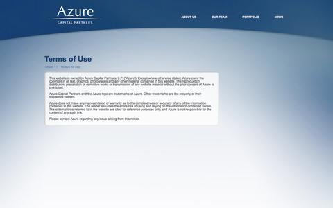 Screenshot of Terms Page azurecap.com - Azure Capital :: Terms of Use - captured Sept. 25, 2014
