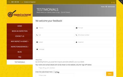 Screenshot of Testimonials Page inspectahome.co.za - Testimonials | Inspectahome - captured Oct. 6, 2014