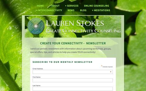 Screenshot of Press Page createconnectivity.org - News — Lauren Stokes, MA, NCC, LPCC, MFTC - captured Oct. 3, 2014