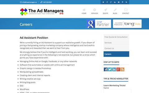 Screenshot of Jobs Page theadmanagers.ca - Careers | The Ad Managers - captured Oct. 9, 2014