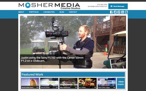 Screenshot of Home Page moshermedia.com - Mosher Media - Video Production in Cleveland, Columbus, Pittsburgh, Cincinnati, Detroit, Akron - captured Oct. 3, 2014