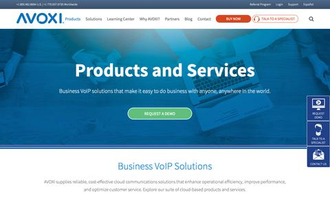 Screenshot of Products Page avoxi.com - Products & Features | AVOXI Business VoIP Solutions - captured Nov. 6, 2018