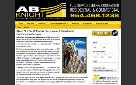 Screenshot of About Page abknight.com - About Fort Lauderdale General Contractor | AB Knight Construction - captured Oct. 1, 2014