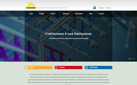 Screenshot of Home Page emmebi.net - Home | Emmebi Advanced Technologies for aluminium - captured Oct. 1, 2014