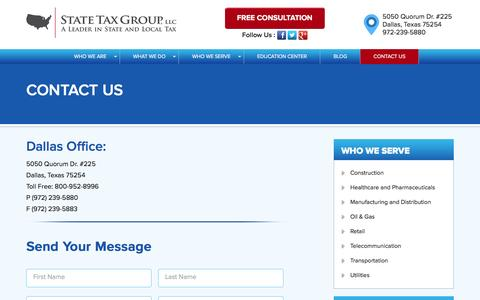 Screenshot of Contact Page statetaxgroup.com - Contact Us | State Tax Group. LLC - captured Feb. 23, 2016