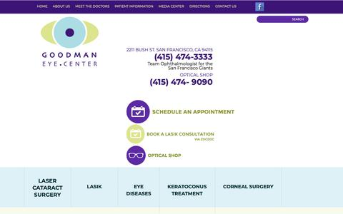Screenshot of About Page goodmaneyecenter.com - LASIK San Francisco | Implantable Contact Lenses, Cataract Surgery San Francisco, CA - captured Oct. 7, 2018
