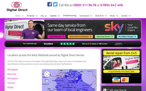 Screenshot of Locations Page ddaerials.com - All Locations served by Digital Direct in the West Midlands Region - captured Nov. 21, 2017