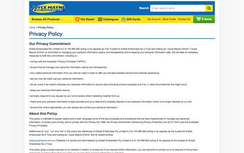 Screenshot of Privacy Page joycemayne.com.au - Privacy Policy | Joyce Mayne Australia - captured Sept. 19, 2014