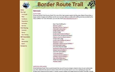 Screenshot of Services Page borderroutetrail.org - Border Route Trail - Services - captured April 28, 2018