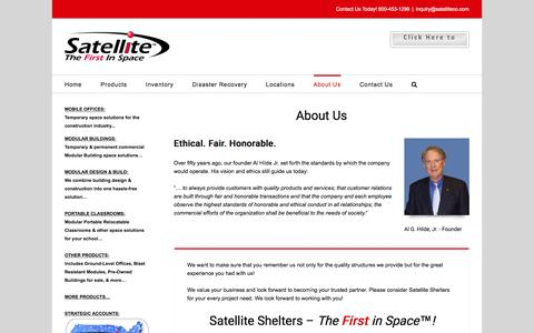 Screenshot of About Page Privacy Page Terms Page satelliteco.com - About Us - Satellite Shelters Inc - captured Nov. 19, 2016