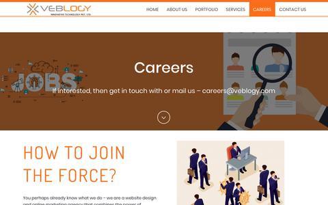 Screenshot of Jobs Page veblogy.com - Careers - Veblogy Innovative Technology PVT. LTD - A Web Design and Development Company - captured Oct. 18, 2018