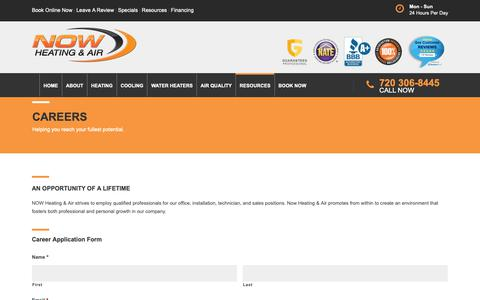 Screenshot of Jobs Page nowha.com - Careers | Air Conditioners & Heater Repair Denver - captured Oct. 20, 2018