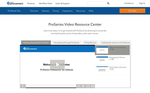 Screenshot of intuit.com - ProSeries Video Resource Center | Intuit - captured April 24, 2018
