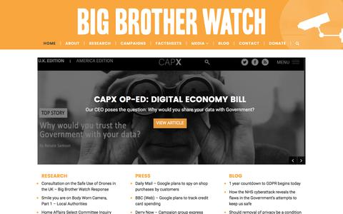 Screenshot of Home Page bigbrotherwatch.org.uk - Big Brother Watch – Defending Civil Liberties, Protecting Privacy - captured June 1, 2017