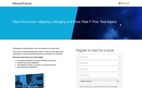 Screenshot of Landing Page microsoft.com - e-Book: Migrating, Managing and More: Real IT Pros. Real Advice. - captured June 7, 2016