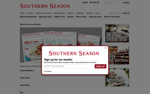 Screenshot of Signup Page southernseason.com - Sign-Up for our Emails - Southern Season - captured Aug. 2, 2015