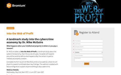 Screenshot of Landing Page bromium.com - Live Webinar: Into the Web of Profit - Registration - captured May 3, 2018