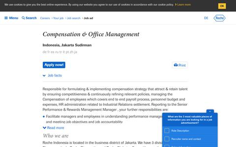 Screenshot of Jobs Page roche.com - Roche - Compensation & Office Management - captured July 16, 2019