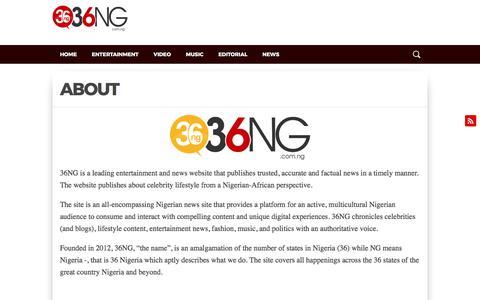 Screenshot of About Page 36ng.ng - ABOUT | 36NG - captured Oct. 30, 2017