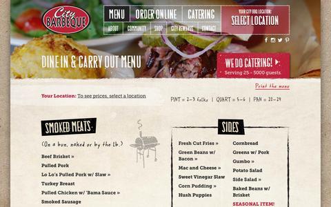 Screenshot of Menu Page citybbq.com - Dine In & Carry Out Menu - City Barbeque - captured Nov. 5, 2014