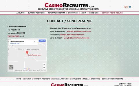 Screenshot of Contact Page casinorecruiter.com - Contact / Send Resume ~ Casino Recruiter - captured Oct. 27, 2016