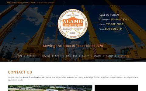 Screenshot of Contact Page alamocrane.com - Alamo Crane Service San Antonio, TX - captured Oct. 3, 2018