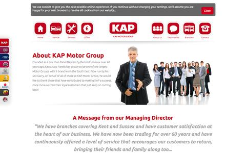Screenshot of About Page kapmotorgroup.co.uk - About KAP Motor Group - captured Aug. 29, 2016