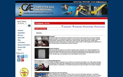 Screenshot of Services Page Support Page caeweb.com - Services On Computer Age Engineering - captured Aug. 17, 2017