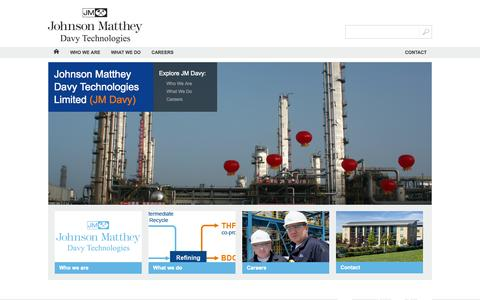 Screenshot of Home Page davyprotech.com - Johnson Matthey - Davy Technologies - captured Oct. 1, 2014