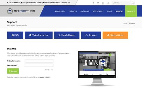 Screenshot of Support Page minifotostudio.nl - Support van Minifotostudio! Wij helpen u graag verder - captured June 12, 2017