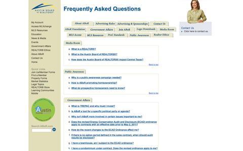 Screenshot of FAQ Page abor.com - ABoR.com - Austin Board of REALTORS® - captured Sept. 19, 2014