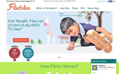 Screenshot of Home Page flintobox.com - Best Subscription Box for Kids in India - captured July 3, 2015