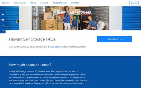 Screenshot of FAQ Page hawaiiselfstorage.com - Frequently Asked Questions at Hawai'i Self Storage - captured July 17, 2018
