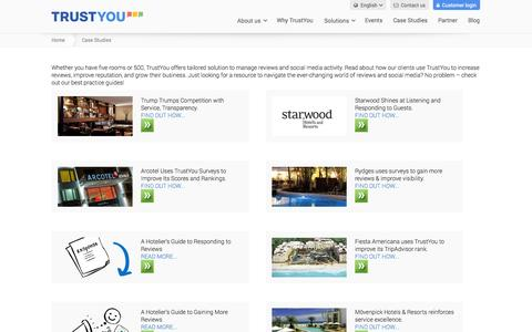 Screenshot of Case Studies Page trustyou.com - Online Reputation Management Client Case Studies - TrustYou - captured Sept. 12, 2014