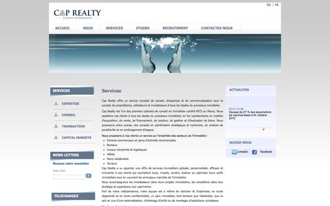 Screenshot of Services Page caprealty.ma - Cap Realty | Conseil en immobilier - Expertise immobilière - RICS Maroc - captured July 10, 2016