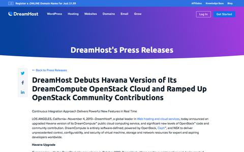 Screenshot of Press Page dreamhost.com - DreamHost Debuts Havana Version of Its DreamCompute OpenStack Cloud and Ramped Up OpenStack Community Contributions  – DreamHost - captured Feb. 21, 2020