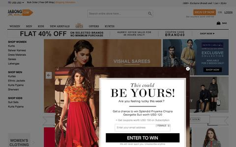 Screenshot of Home Page jabongworld.com - International Online Shopping - Indian Clothing, Shoes, HandBags, Jewelry from India - captured Jan. 30, 2016