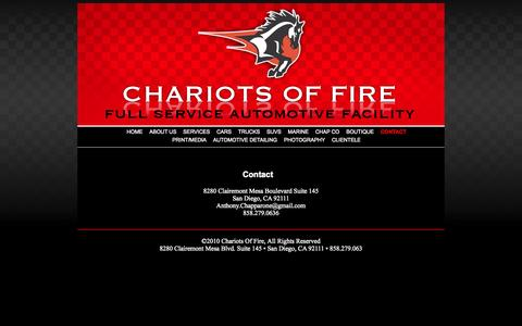 Screenshot of Contact Page cofcustoms.com - Chariots of Fire • Full Service Automotive Facility - captured Oct. 2, 2014