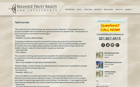 Screenshot of Testimonials Page reliancetrustrealty.com - Testimonials - captured Oct. 7, 2014
