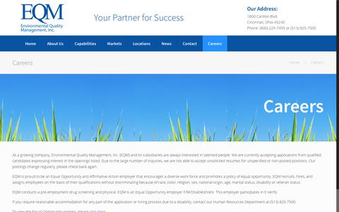 Screenshot of Jobs Page eqm.com - Careers | Environmental Quality Management - captured Aug. 14, 2017