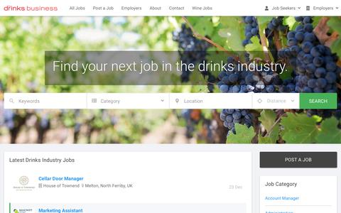 Screenshot of Jobs Page thedrinksbusiness.com - Beer, Spirits and Wine Jobs - The Drinks Business - captured Jan. 3, 2020
