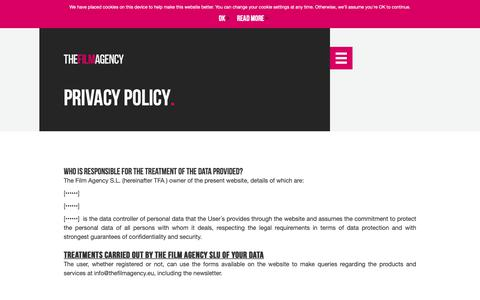 Screenshot of Privacy Page thefilmagency.eu - Privacy policy – The Film Agency - captured Dec. 10, 2018