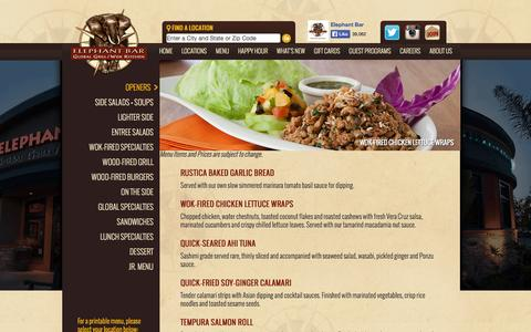 Screenshot of Menu Page elephantbar.com - Elephant Bar Restaurant - Menu - captured Sept. 25, 2014