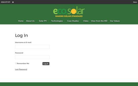 Screenshot of Login Page eco2solar.co.uk - Log In - captured July 15, 2017