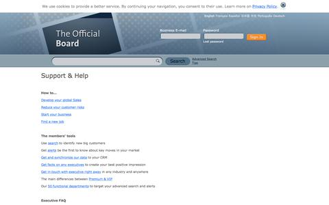 Screenshot of Support Page theofficialboard.com - Support & Help - The Official Board - captured Oct. 28, 2017